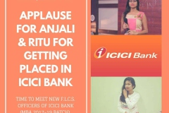 MBA students Anjali and Ritu of our group got the package of 2.40 LPA in ICICI Bank. 18.3.19